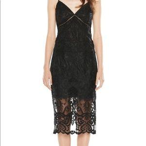 "Bardot ""Lola"" Embroidered Black Lace Dress"